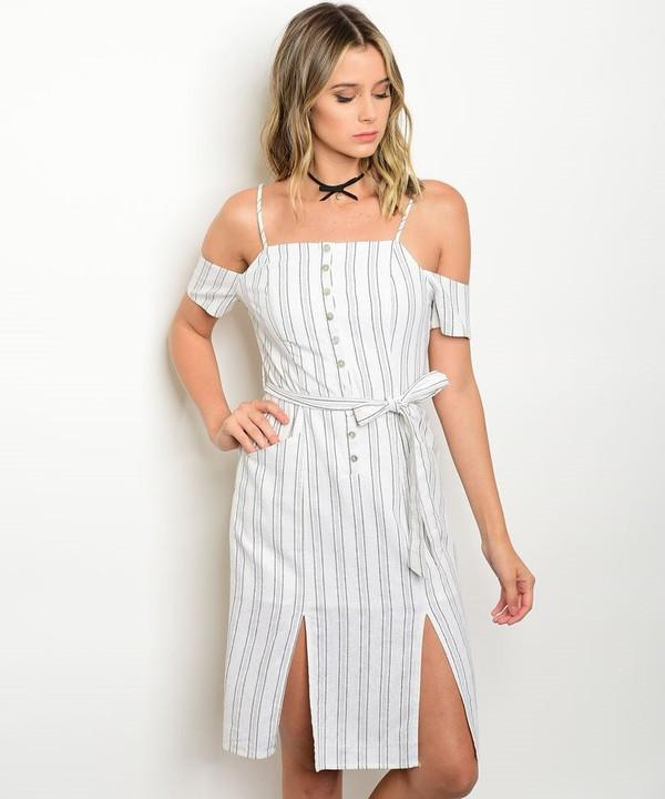 BUTTONED PINSTRIPE DRESS IVORY