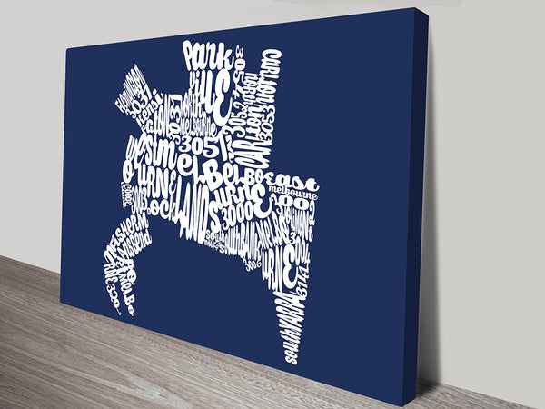 Prints On Canvas - Melbourne Word Map Australia - AlsoKnownAs Lifestyle Collection
