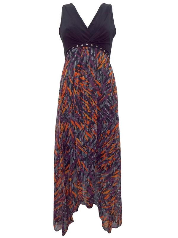 Julien Macdonald Fiery Print Chiffon Maxi Dress