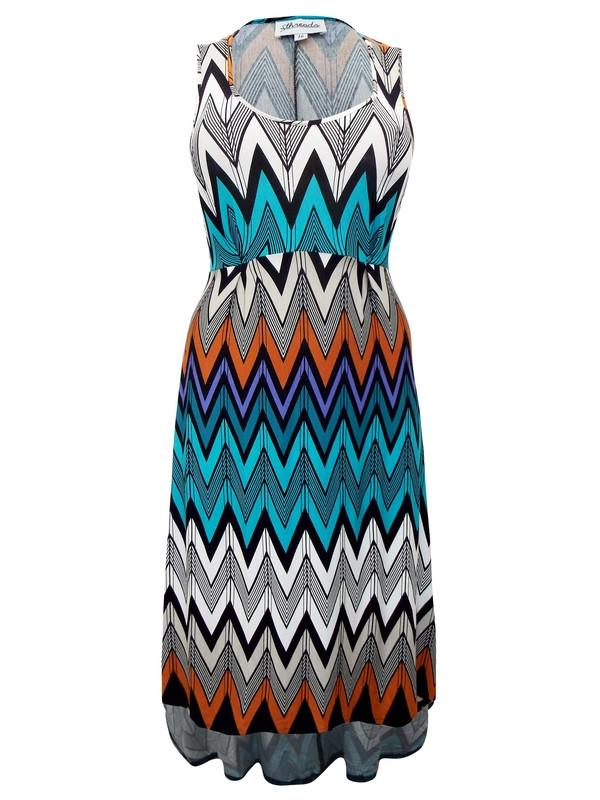Sleeveless Chevron Print Jersey Dress