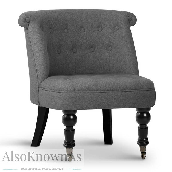 French Provincial Lorraine Accent Chair - Grey
