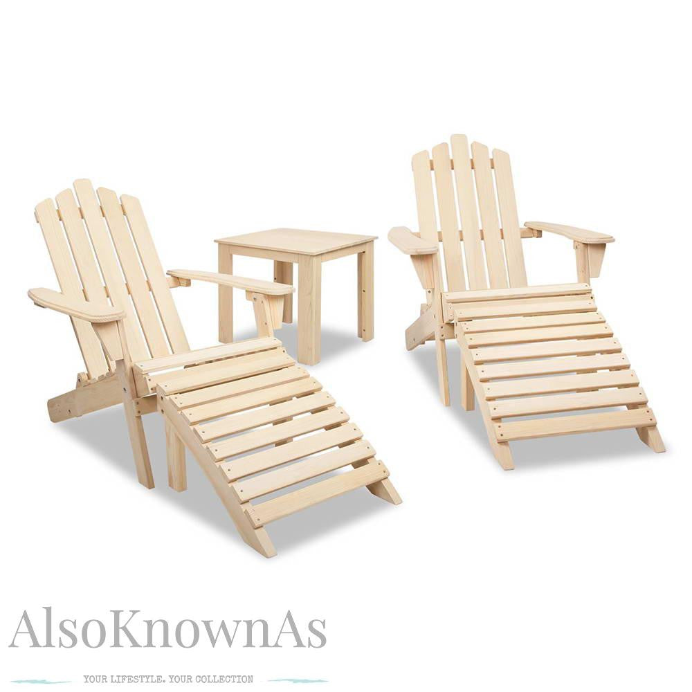 Adirondack Chairs & Side Table 5 Piece Set - Natural