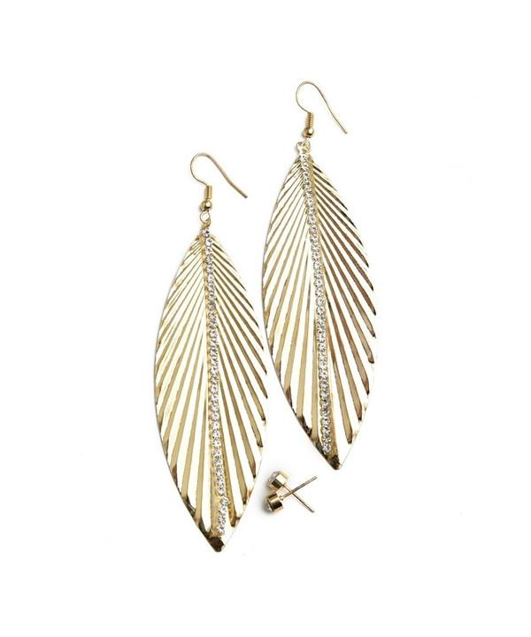 LEAF SHAPE DIAMANTE EARRINGS