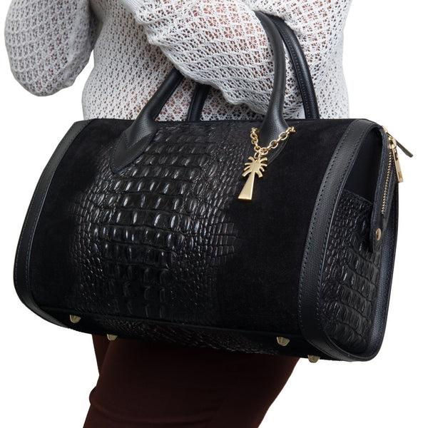 Marlafiji - Jackie Black croc leather bag