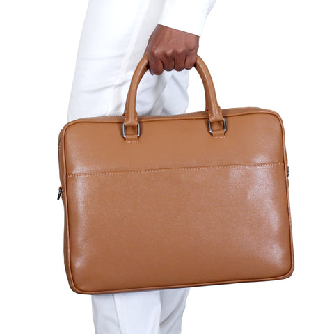 Marlafiji - James Cognac Italian Leather Slim Briefcase