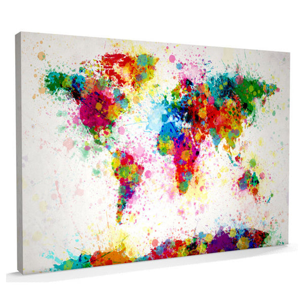 Paint Splash Canvas Art Map of the World - AlsoKnownAs Lifestyle Collection