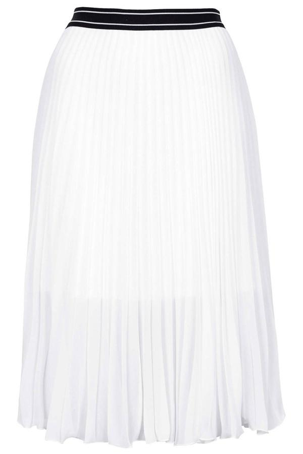 Sport Waistband Pleat Midi Skirt