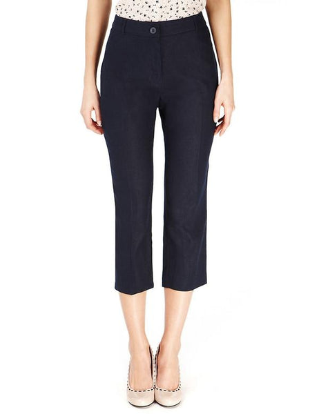Slim Leg Cropped Linen Trousers