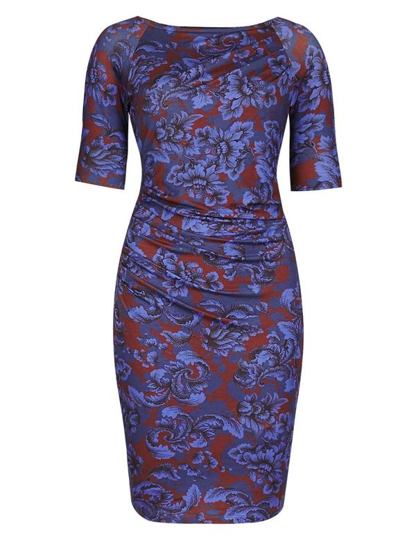 M & S Collection Blue Floral Drape Dress