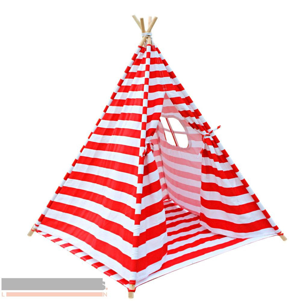 Red and white stripe 4 pole Teepee with storage bag