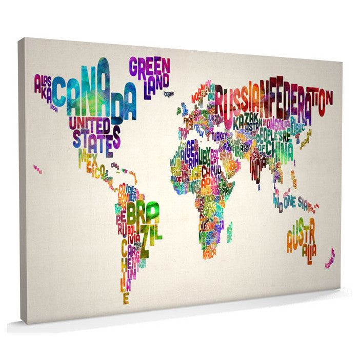 Text Print Canvas Art Map of the World - AlsoKnownAs Lifestyle Collection