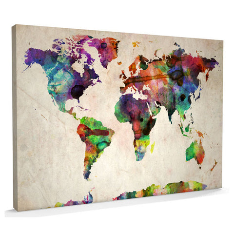 Urban Watercolour Canvas Art Map of the World - AlsoKnownAs Lifestyle Collection