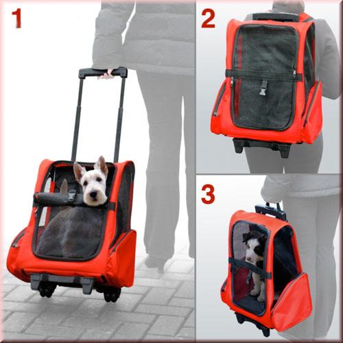 Dog Pet Safety Transport Carrier Backpack Trolley
