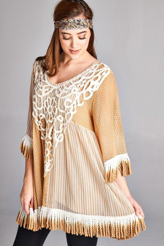 Sheer Embroidered Tunic Top