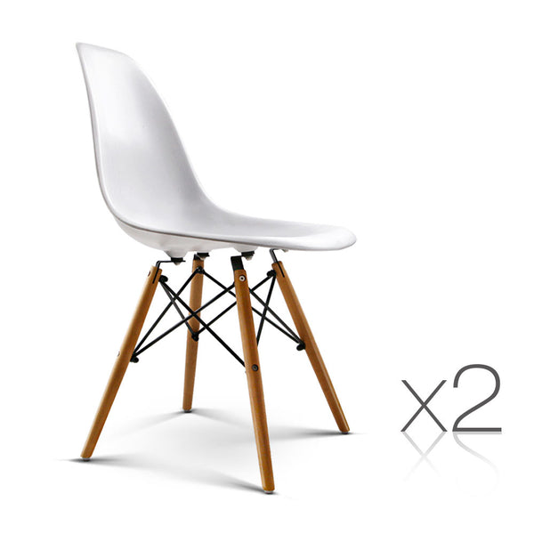 Set of 2 Dining Chair White
