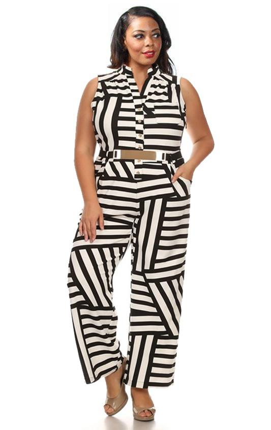 Retro Stripe Belted Jumpsuit