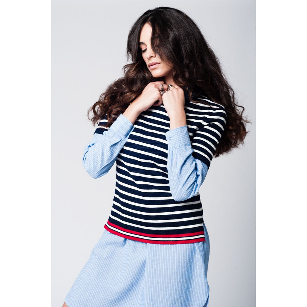 Navy breton stripes knitted sweater