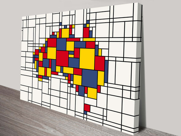 Prints On Canvas - Michael Tompsett - Mondrian Inspired Australia Map - AlsoKnownAs Lifestyle Collection