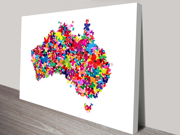 Prints On Canvas - Michael Tompsett - Butterflies Australia Map - AlsoKnownAs Lifestyle Collection