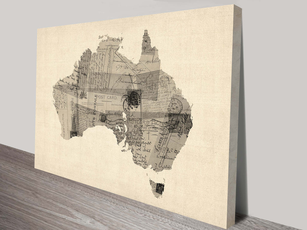 Prints On Canvas - Michael Tompsett -Old Postcard Map of Australia - AlsoKnownAs Lifestyle Collection