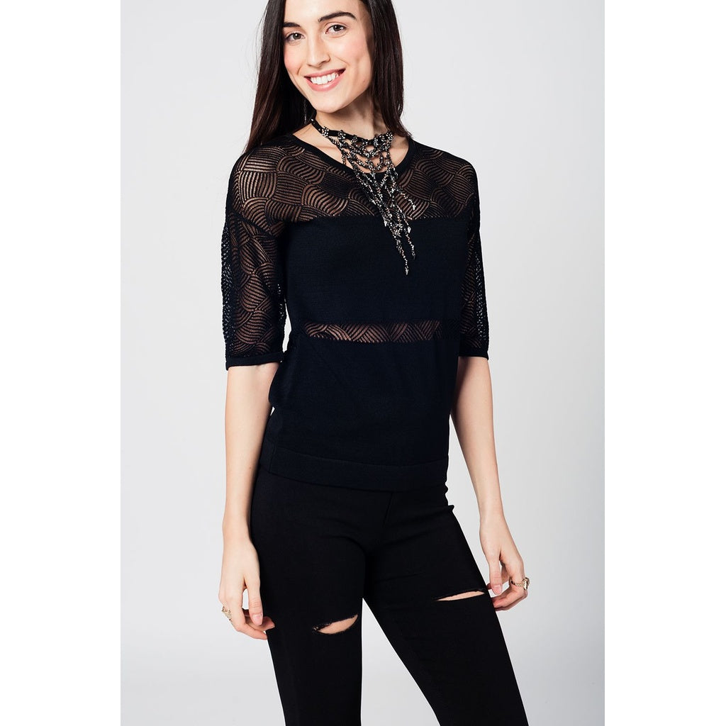 Black knitted top with lace contrast detail