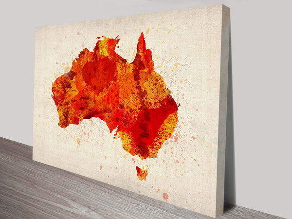 Prints On Canvas - Michael Tompsett - Red Australia Typographic Text Map - AlsoKnownAs Lifestyle Collection