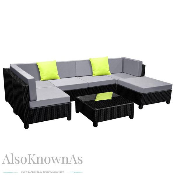 Black Outdoor Wicker Furniture Set 7pc