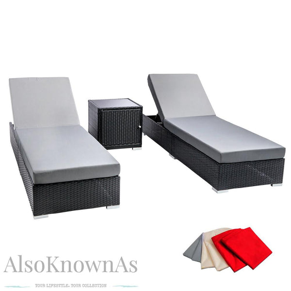 Flamenco 3 piece Black Wicker Rattan 2 Seater Outdoor Lounge Set