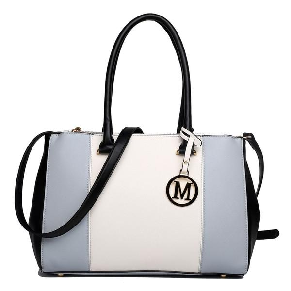 SUTTON CENTER STRIPE SATCHEL HANDBAG LIGHT GREY