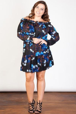 Paisley Floral Bardot Dress
