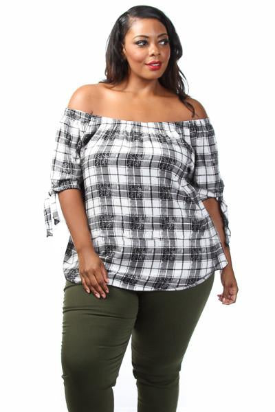 Off Shoulder Country Plaid Top