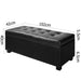 Large Ottoman PU Black Leather