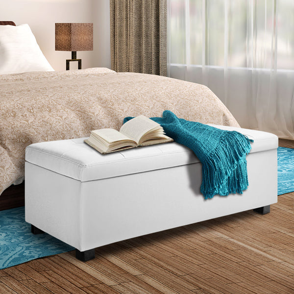Large Ottoman PU White Leather
