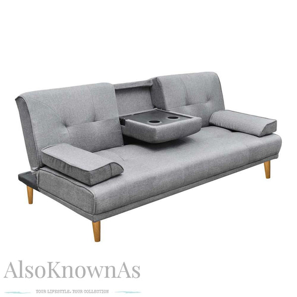 Modern Faux Fabric 3 Seater Sofa Bed with Cup Holders