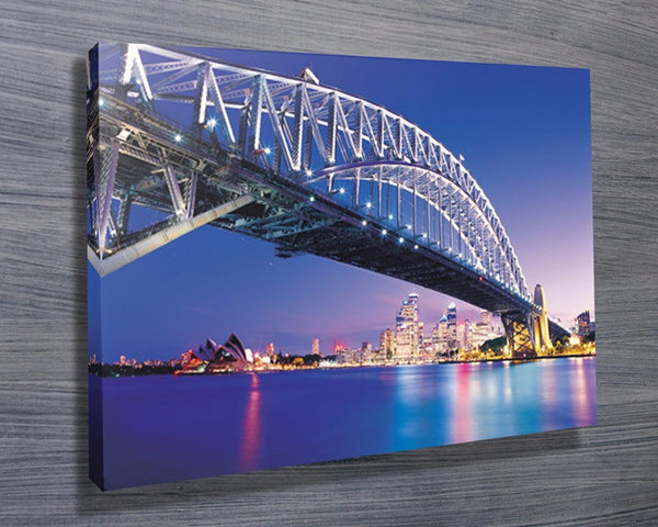 Prints On Canvas - Sydney Harbour Bridge At Night - AlsoKnownAs Lifestyle Collection