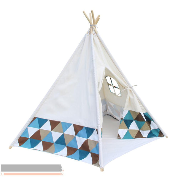 Green and Blue Banner 5 pole Teepee