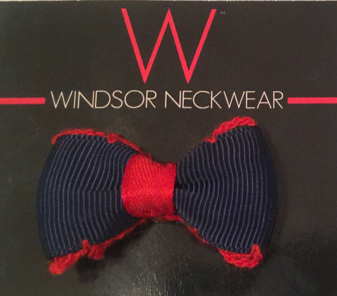 Blue with Red Trim Bow Tie Lapel