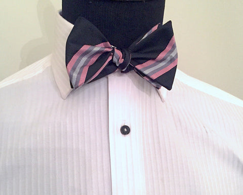 Preppy Stripe Pink and Grey