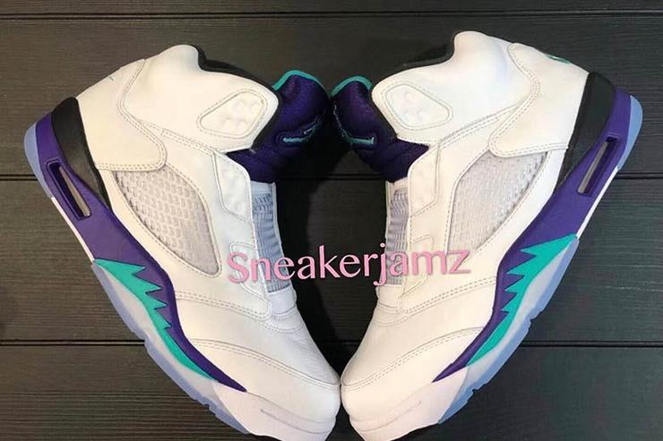 121dc6141d4 Jordan 5 Grape Bel Air Sneaker Tees Match Retro 5 Shoes.