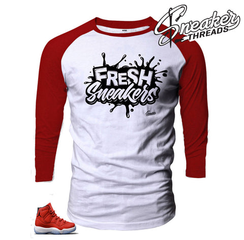 Jordan 11 gym red raglans fresh sneakers shirts matching long sleeve.