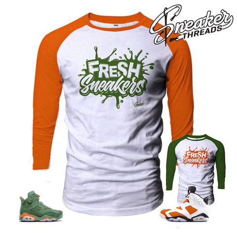 Fresh sneakers raglan shirts match Jordan 6 gatorade be like mike.