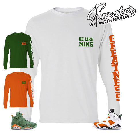 Long sleeve shirts match Jordan 6 gatorade shoes | Be Like Mike