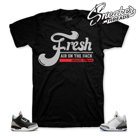 Jordan 3 black cement shirts match retro 3 shoes.