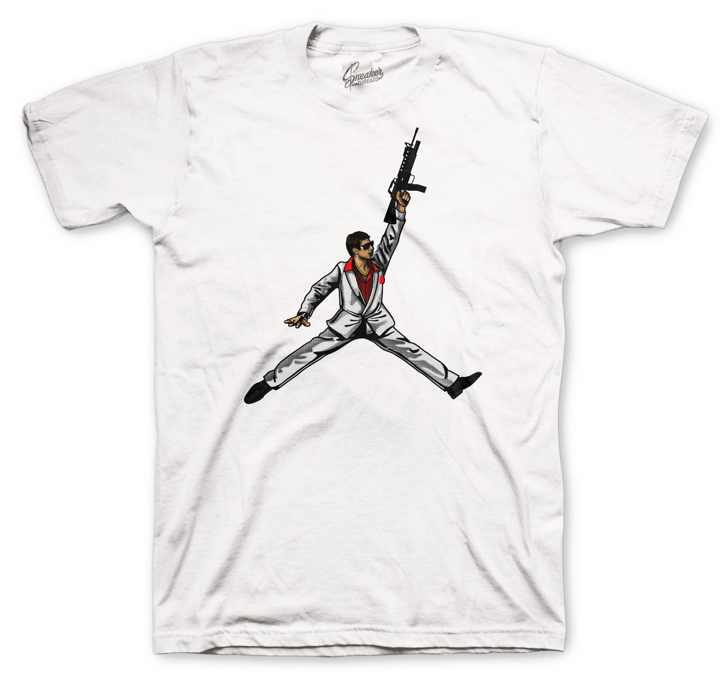 Fire Red Jordan 4 sneaker collection matching mens tees
