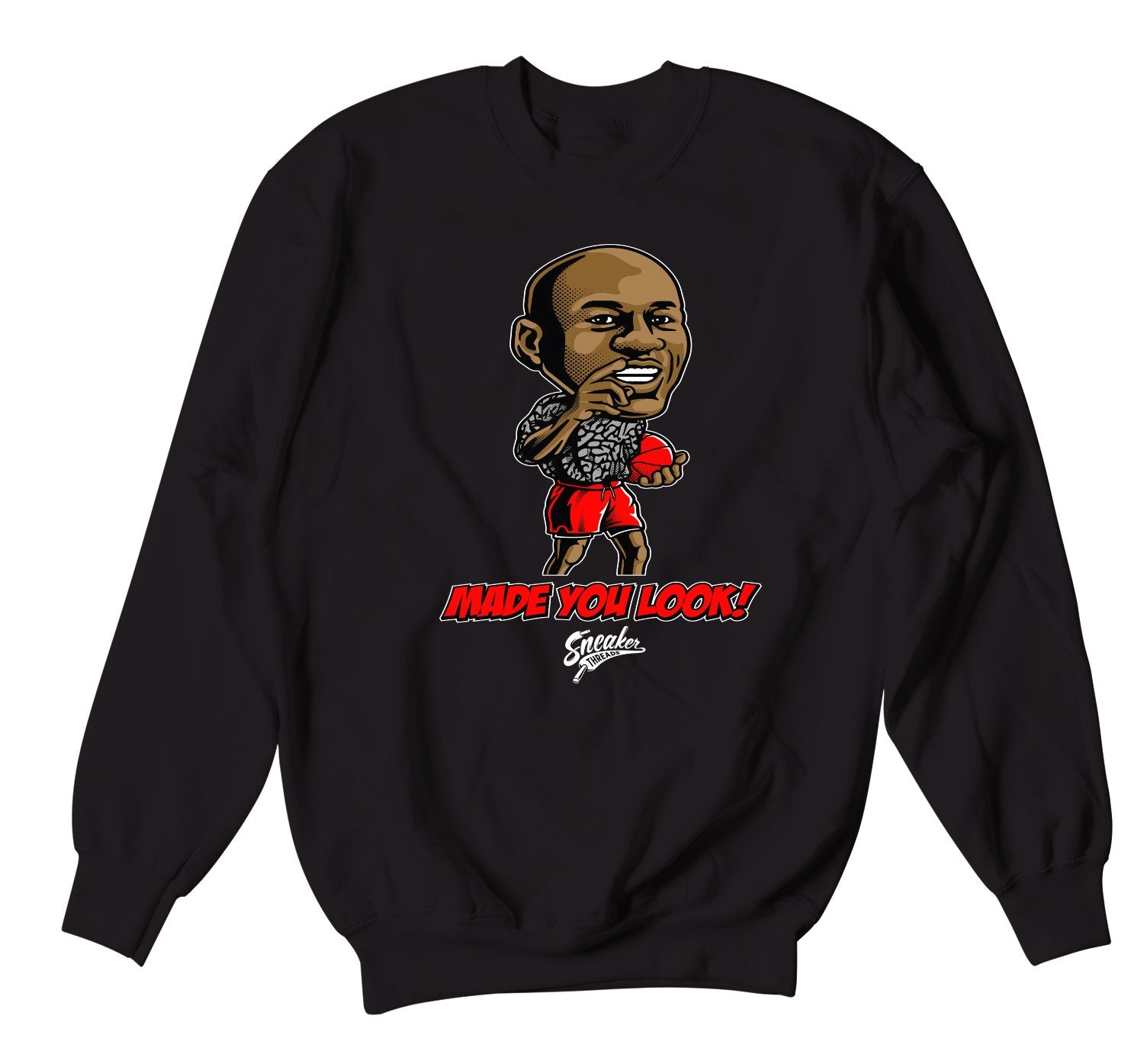 Unite Red Cement Jordan 3 sneakers matching crewneck sweaters