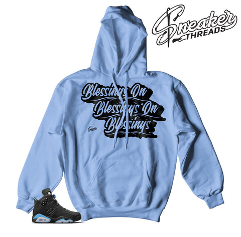 Jordan 6 UNC retro 6 hooded sweatshirts match carina blue 6 shoes.