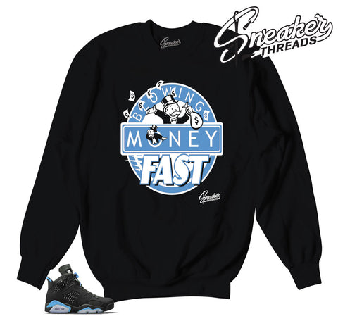 Jordan 6 UNc sweaters match carolina blue sneakers.