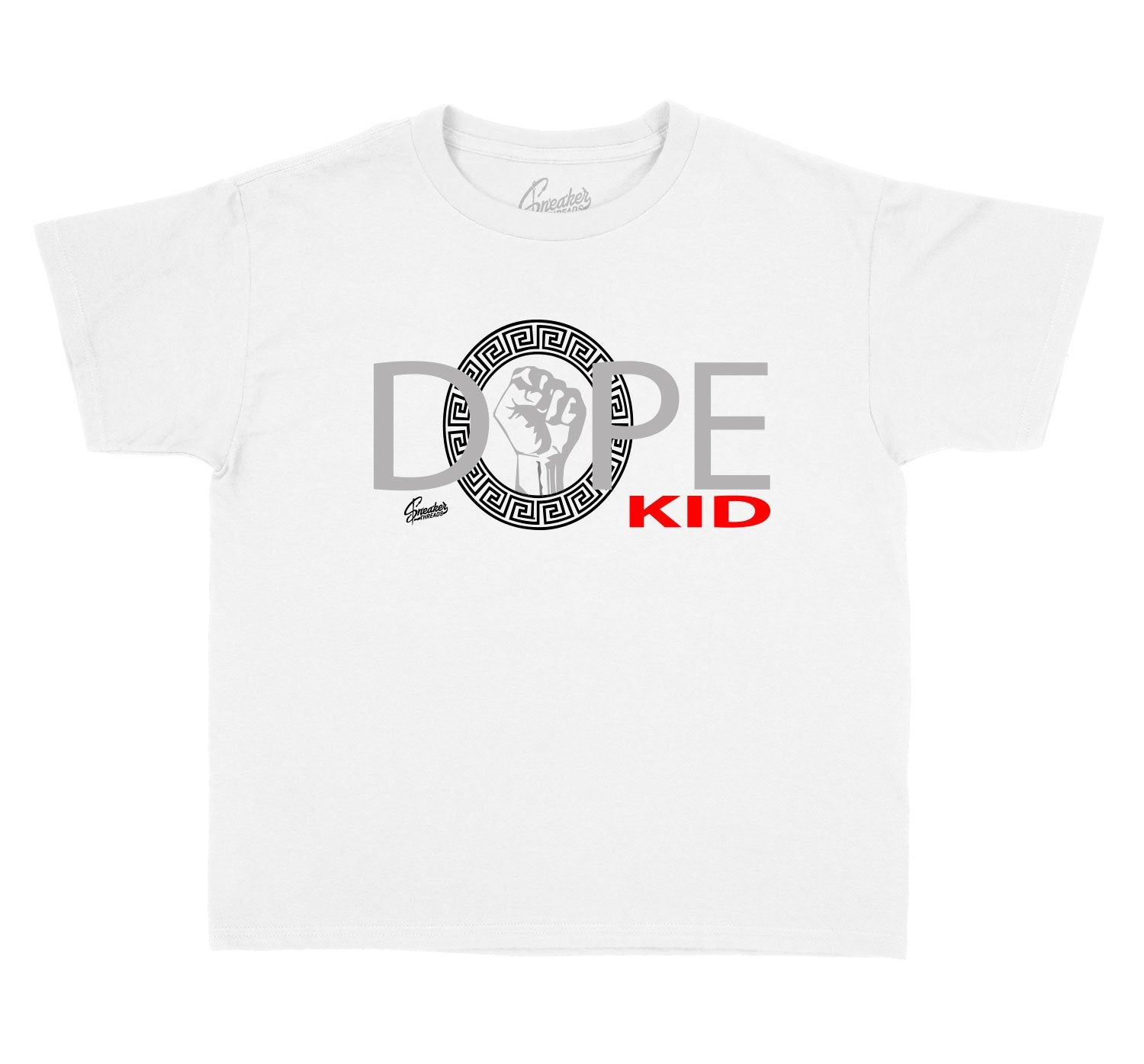 Shirt collection made to match the kids Jordan 12 dark grey sneakers