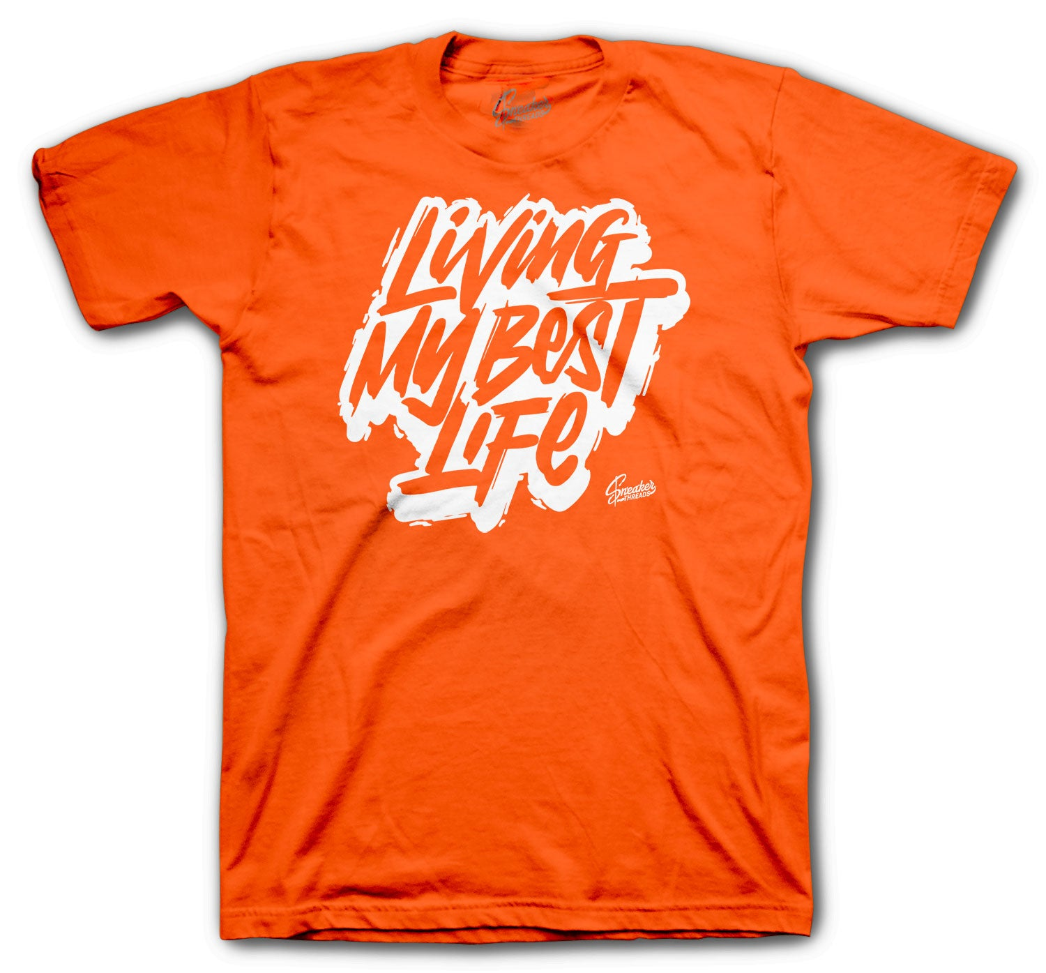 Orange tee collection matches with Jordan 4 orange metallic sneaker collection