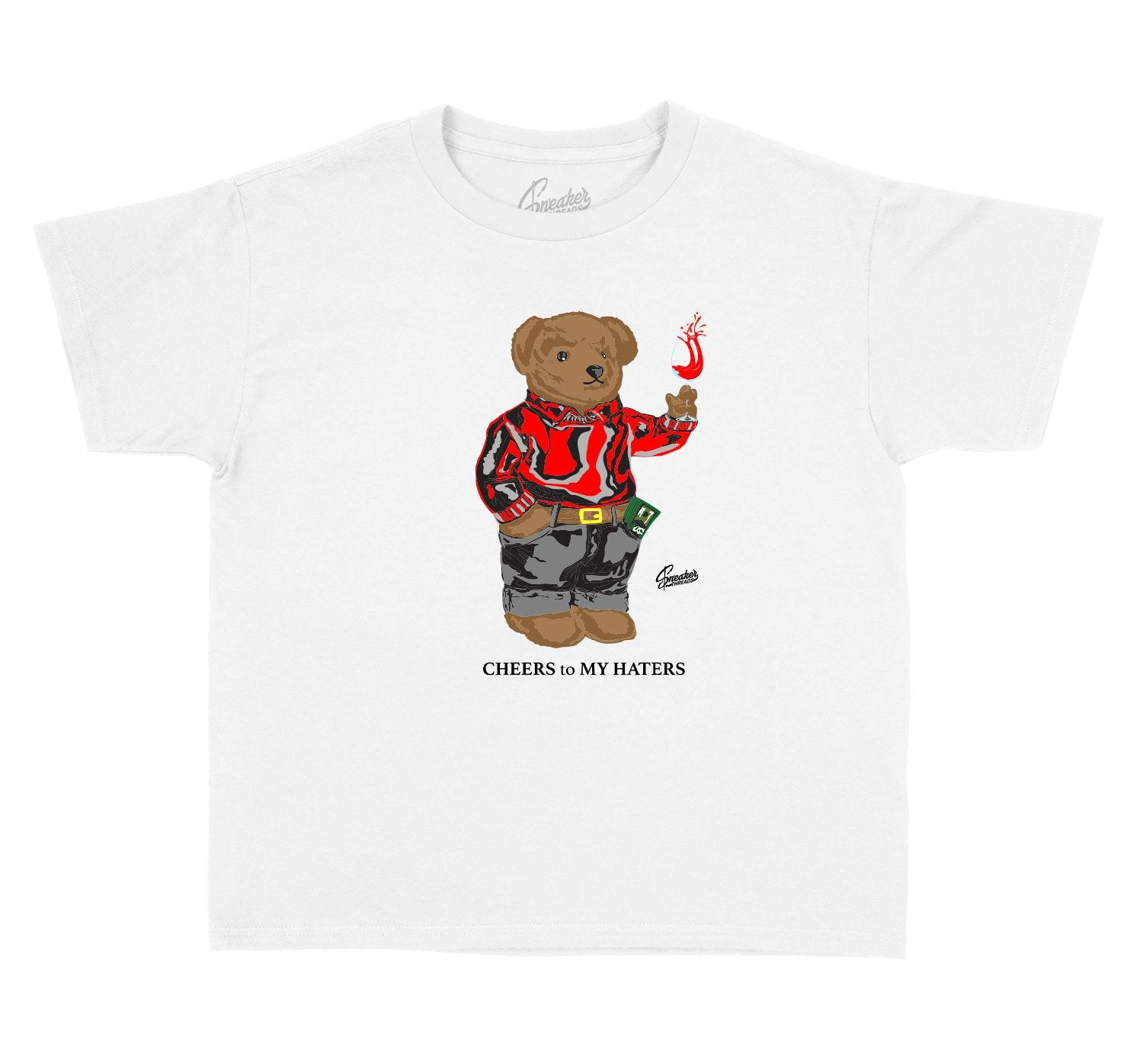 collection of shirts made for kids made to match the sneaker yeezy v2 black